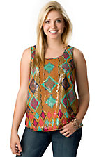 Wrangler® Women's Gold, Pink and Turquoise Aztec Overlay with Sequins Sleeveless Fashion Tank Top