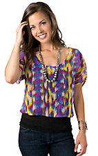 Wrangler® Womens Purple, Blue and Yellow Ikat Print Chiffon Short Sleeve Crop Fashion Top
