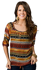 Wrangler® Women's Rust and Green Southwest Print 3/4 Sleeve Sheer Fashion Top