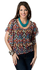 Wrangler® Women's Coral, Turquoise and Lime Diamond Print Smocked Bottom Chiffon Short Sleeve Fashion Top