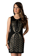 I.Madeline® Women's Black with Gold Studs Sleeveless Dress