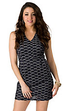 I.Madeline® Women's Navy and White V-Neck with Full Zipper Back Sleeveless Dress