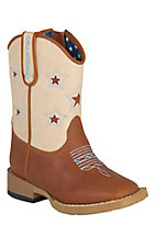 M&F Double Barrel Toddler Cognac w/Ivory Star Top Square Toe Western Boots