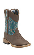 M&F Double Barrel Kid's Brown w/ Teal Top Zip Square Toe Western Boots