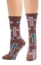 Justin® Gypsy Collection™ Women's Brown, with Turquoise and Pink Cross Print Socks