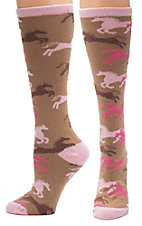 Justin® Gypsy Collection Women's Brown and Pink Horses Over the Calf Socks