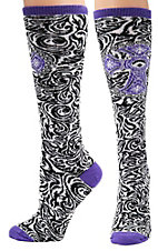 Justin® Gypsy Collection™ Women's Black, White and Purple Swirl Print with Cross Over the Calf Socks
