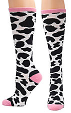 Justin® Gypsy Collection Women's Black, White and Pink Cow Print Over the Calf Socks