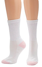 Justin Original Work Boots® Women's White with Pink Super Crew 3-Pack Boot Socks