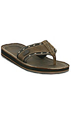Justin® Bent Rail™ Men's Brown w/Natural Double Edge Stitch Leather Flip Flop by M&F®