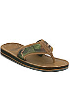 Justin® Bent Rail™ Men's Distressed Brown w/Mossy Oak Camo Leather Flip Flops by M&F®