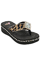Justin® Samantha™ Women's Black/Brown Leopard Print Jeweled Flip-Flop by M&F®