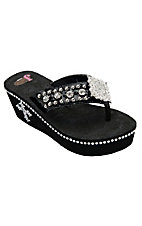 Justin® Peyton™ Women's Black Patent Jeweled Flip-Flop by M&F®