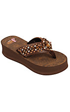 Justin® Abbey™ Ladies Brown Croc Print w/ Square Concho Jeweled Flip-Flop by M&F®