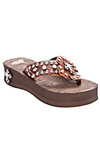 Justin® Marley™ Ladies Brown Croc Print w/ Leather Cross Jeweled Flip-Flop by M&F®