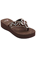 Justin® Isabel™ Women's Brown w/ Center Cross Jeweled Flip-Flop by M&F®