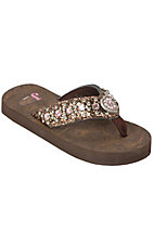 Justin® Emma™ Kids Brown Bronze Metallic w/ Heart Concho Jeweled Flip-Flop by M&F®
