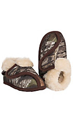 M&F® Kid's Brown Camouflage Fleece Lined Velcro Slippers