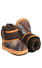 DBL Barrel® Infant's Brown with Orange Camouflage Cowboy Boot Slippers