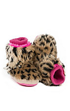 Justin® Infant's Brown Furry Leopard Print Boot Slippers