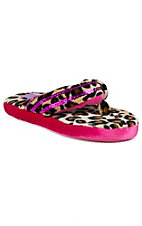 Justin® Women's Hot Pink & Cheetah Fuzzy Sequin Flip Flop Style Slippers by M&F®