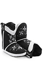 Blazin Roxx Adult Black & White Fleur de Lis with Rhinestones Cowboy Boot Slippers