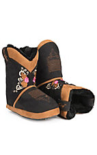 Blazin Roxx Adult Black & Brown with Embroidery Cowboy Boot Slippers