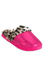 Blazin Roxx Women's Hot Pink Sequins with Fuzzy Cheetah Slippers