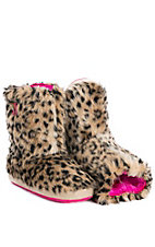 Blazin Roxx Women's Brown Furry Leopard Print Boot Slippers