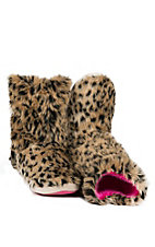 Justin® Kid's Brown Furry Leopard Print Boot Slippers