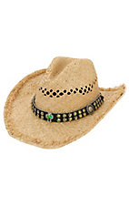 M&F® Vented Straw with Crystals and Cross on Black Band Crushable Hat