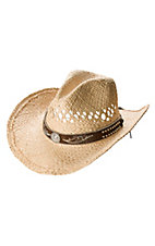 M&F® Vented Straw w/ Brown Bling Band Crushable Hat