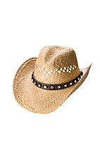 M&F® Vented Straw w/ Brown Crystal Stud Band Crushable Hat