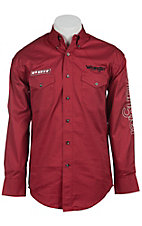 Wrangler Red PBR Logo Long Sleeve Western Shirt MHS369R