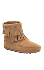 Minnetonka Women's Tan Suede Double Fringe with Side Zip 7in Boot