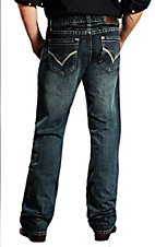 Rock & Roll Cowboy Dark Wash Double Barrel Running Stitch Double V Relaxed Fit Boot Cut Jeans MOD673541