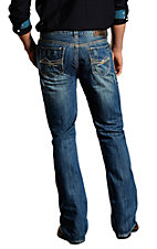 Rock & Roll Cowboy Medium Stonewash Double Barrel Abstract Embroidery Relaxed Fit Boot Cut Jeans MOD674042
