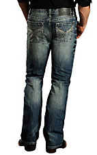 Rock & Roll Cowboy Medium Stonewash Stitched V Pocket Pistol Slim Fit Boot Cut Jeans MOP674343