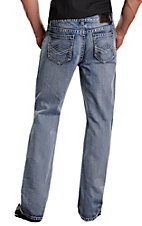 Rock & Roll Cowboy Medium Stonewash V's Running Stitch Double Barrel Relaxed Fit Straight Leg Jeans MOS377346