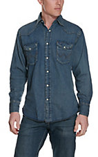 Wrangler ® Indigo Slub Denim Long Sleeve Shirt