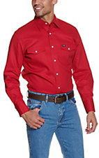 Wrangler Red Twill Long Sleeve Snap Workshirt- Tall Sizes
