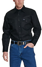Wrangler® Black Twill Long Sleeve Snap Workshirt- Big & Tall Sizes