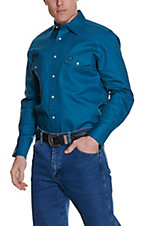 Wrangler® Dark Teal Long Sleeve Workshirt