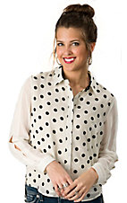I.Madeline® Women's Off White with Black Polka Dots Long Open Sleeves Button Down Fashion Top