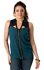 I.Madeline® Women's Black and Navy with Turquoise Geo Print Zipper Front Sleeveless Fashion Top