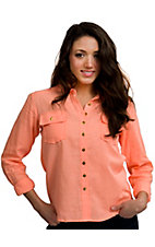 I.Madeline® Women's Neon Orange Linen Button Down Fashion Top