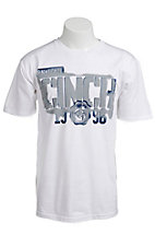 Cinch® Men's White w/ Grey & Navy S/S Logo Tee
