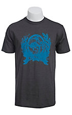 Cinch Men's Grey with Blue Logo Short Sleeve Tee