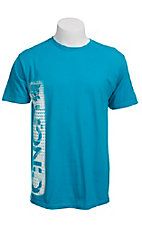 Cinch Men's Turquoise with White Side Logo Short Sleeve Tee