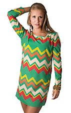 Karlie® Women's Green, Red, Orange and Yellow Chevron Pattern Long Sleeve Shift Dress